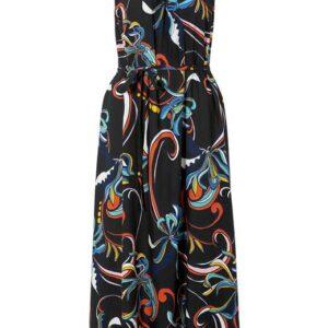 Cellbes Ærmeløs kjole Sort Mønstret
