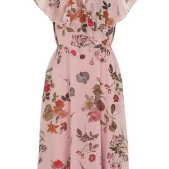 Cellbes Festfin, lang kjole i skønt, blomstret mønster Rosa Mønstret
