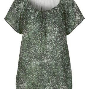 Cellbes Fintvævet singoallabluse med jerseyfor Grøn Mønstret