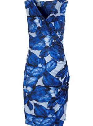 Cellbes Jerseykjole med rynkedetaljer Blå Mønstret
