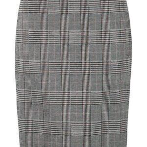 Cellbes Kort nederdel i ternet jacquard Grå Ternet