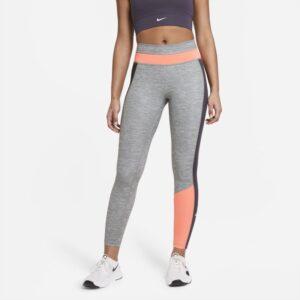 Melerede Nike One-7/8-leggings med farveblokke til kvinder - Grå