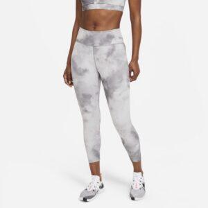 Ankellange Nike One Icon Clash-leggings med mellemhøj talje til kvinder - Grå