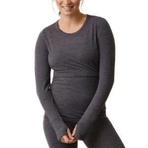 Boob Merino Wool Long Sleeve Top Mørkgrå merinould Large Dame