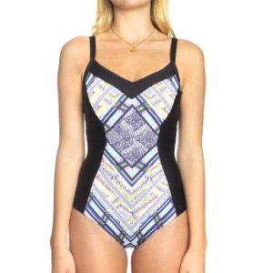 Sunseeker Tribe Attack Swimsuit Sort mønstret D 36 Dame