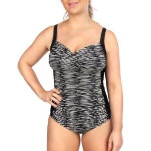 Trofe Graphic Bali Swimsuit Sort/Hvid C 38 Dame