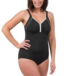 Trofe Swimsuit Prosthetic Chlorine Resistant Sort/Hvid polyester B 38 Dame