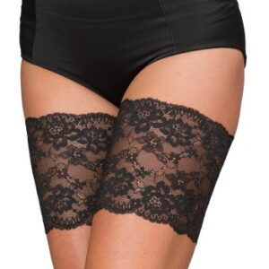 Trofe Thigh Lace Strømpebukser Sort polyamid Large Dame