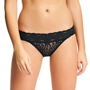 Wacoal Trusser Halo Lace Bikini Sort nylon Large Dame