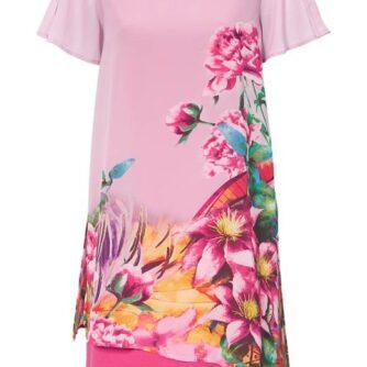 Cellbes Blomstret festkjole med slidser Rosa Mønstret