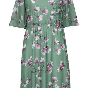 Cellbes Blomstret festkjole med vide ærmer Støvet grøn Blomstret