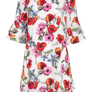 Cellbes Blomstret kjole med flæseærmer Blomstret