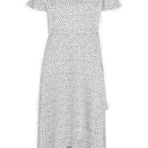 Cellbes Prikket kjole i satin Hvid Sort Prikket