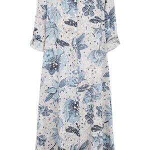 Cellbes Vid, mønsteret kjole med asymmetrisk kant forneden Blå Mønstret
