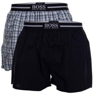 BOSS Woven Boxer Shorts With Fly 2P Mørkblå bomuld Small Herre