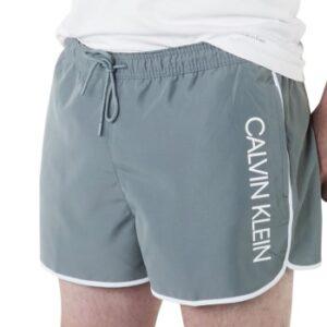Calvin Klein Badebukser Core Solid Short Runner Swim Shorts Grå polyester Large Herre
