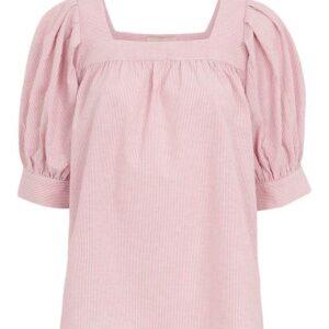 Freequent Bluse med smalle striber Uana Rosa Hvid Stribet