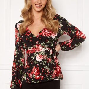 Happy Holly Amanda puff sleeve wrap top Black / Patterned 36/38