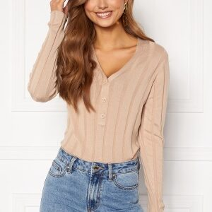 Happy Holly Anabelle Knitted collar Top Beige 32/34