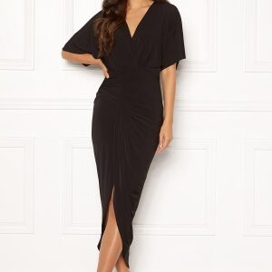 John Zack Kimono Sleeve Rouch Dress Black XS (UK8)