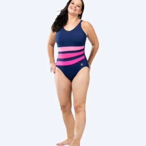 Watery Mystique Stripes One Piece Dame- Pinky