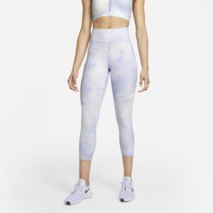 Ankellange Nike One Icon Clash-leggings med mellemhøj talje til kvinder - Lilla