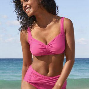 Cerise bikinitrusser med høj talje