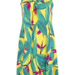 Jerseykjole i A-facon med blomstret mønster